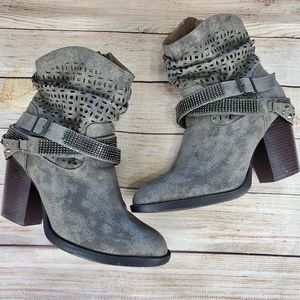 Lane Bryant Slouchy Studded Chunky Heel Ankle Boot